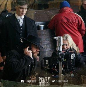 Tom Hardy and. Cillian Murphy behind the scenes in Peaky Blinders, Series 3 (Photo by Robert Viglasky)