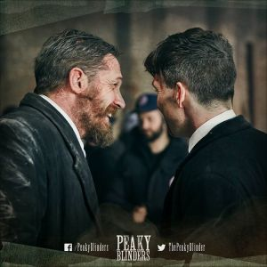 Tom Hardy and Cillian Murphy behind the scenes in Peaky Blinders, Series 3 (Photo by Robert Viglasky)