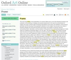 """""""Frame"""" from <I>Oxford Art Online</I>"""