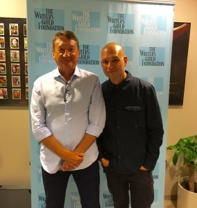 Steven Knight and Dominic Patten at the Writers Guild Foundation